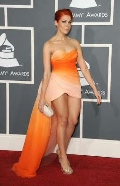 Singer Bonnie McKee arrives at The 53rd Annual GRAMMY Awards held at Staples Center.
