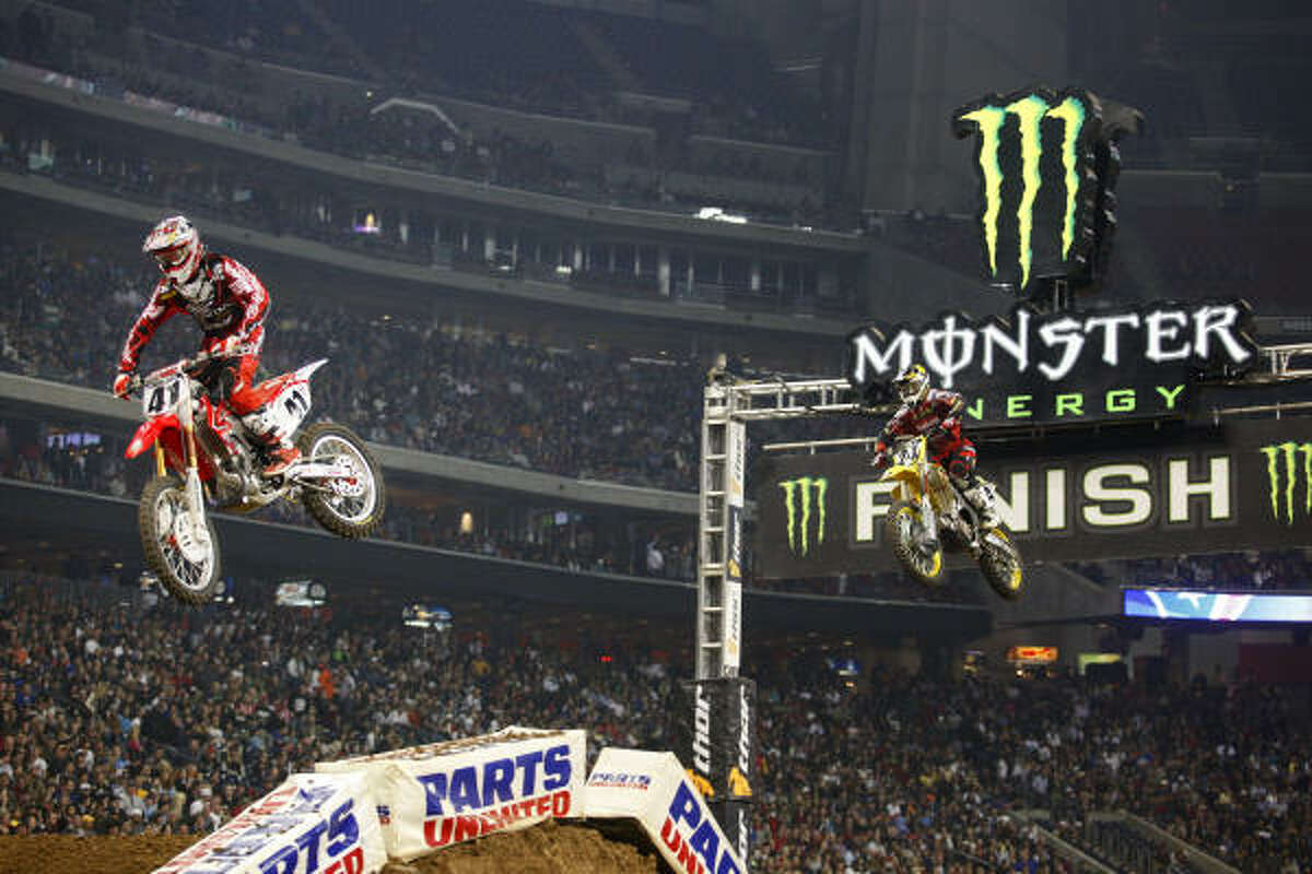 Trey Canard claimed his first AMA Supercross victory during Saturday's main event at Reliant Stadium.