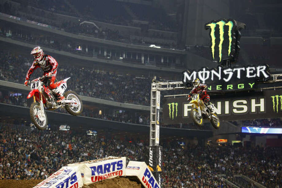 Trey Canard claimed his first AMA Supercross victory during Saturday's main event at Reliant Stadium. Photo: TODD SPOTH, For The Chronicle