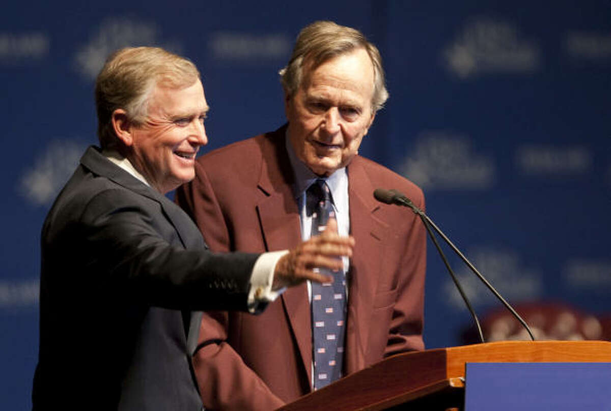 Vice President Dan Quayle is intrduced by President George Bush during a 20th Anniversary Commemoration of the beginning of military operations to liberate Kuwait in Reed Arena on the campus ofTexas A&M University in College Station.