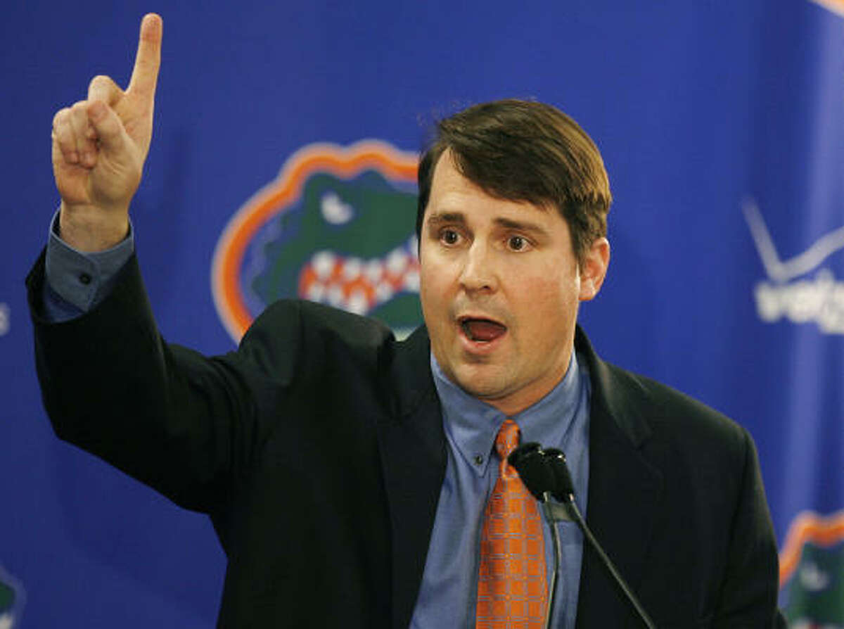School: Florida Who's out: Urban Meyer Who's in: Will Muschamp When Meyer decided to retire due to health reasons, Muschamp, the head-coach-in-waiting at Texas, jumped at the opportunity to return to his childhood hometown of Gainesville.