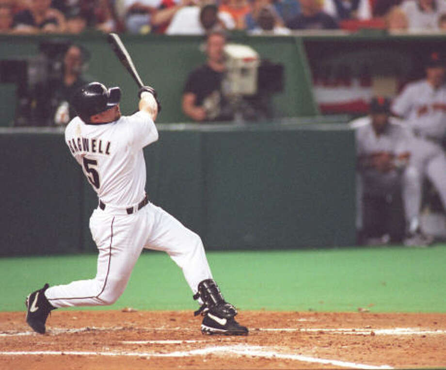 PHOTOS: Highlights from the career of Jeff BagwellJeff Bagwell is the only first baseman with 400 home runs and 200 stolen bases in his career. He finished with 449 home runs.Click through to see what No. 5 accomplished during his 15 years as an Astro... Photo: Steve Campbell, Chronicle