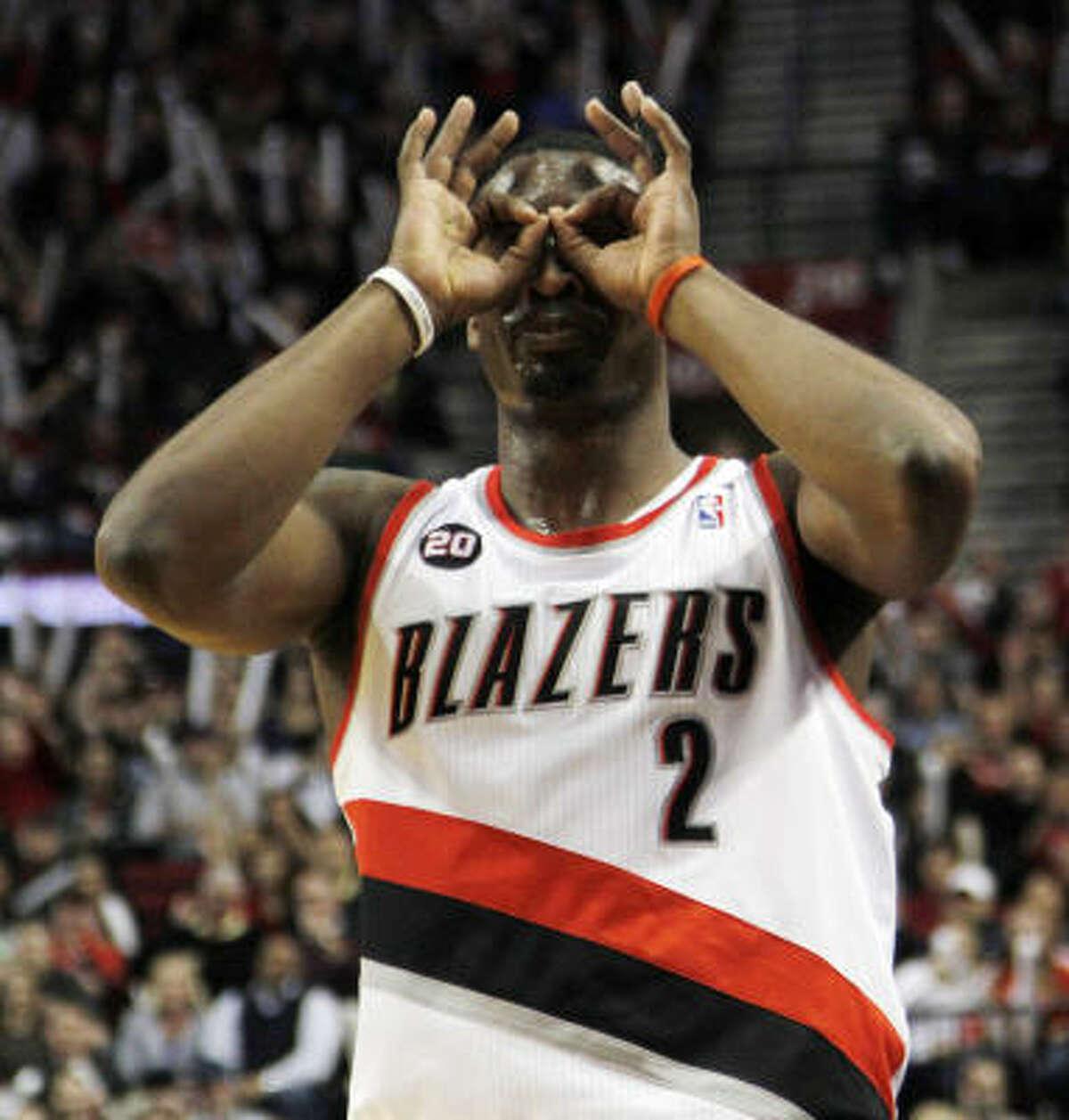 Trail Blazers guard Wesley Matthews celebrates sinking a 3-point shot.