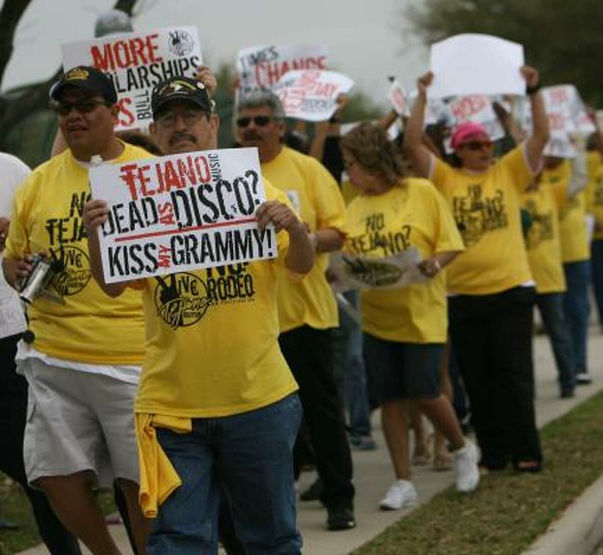 Demonstrators organized by VIVE Tejano-Houston protest against the rodeo's Go Tejano Day in front of Reliant Center in 2008. Local Hispanic leaders are upset that RodeoHouston didn't book a Tejano act.