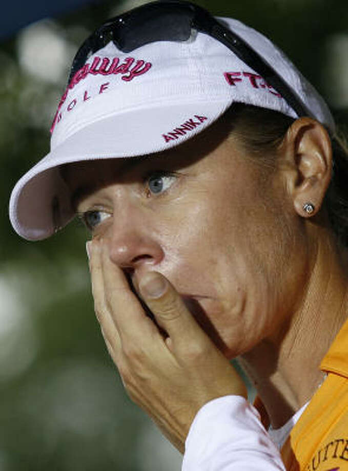 An emotional Annika Sorenstam couldn't hold back the tears after completing the final round of her final major. Sorenstam is retiring from the LPGA Tour. Photo: GLYN KIRK, AFP/Getty Images