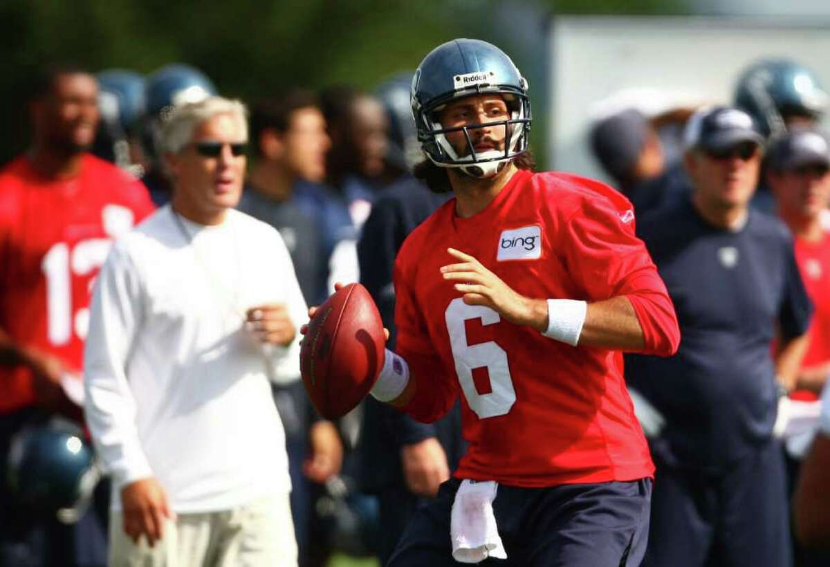 Quarterback Charlie Whitehurst throws during a drill during day two of Seattle Seahawks training camp.