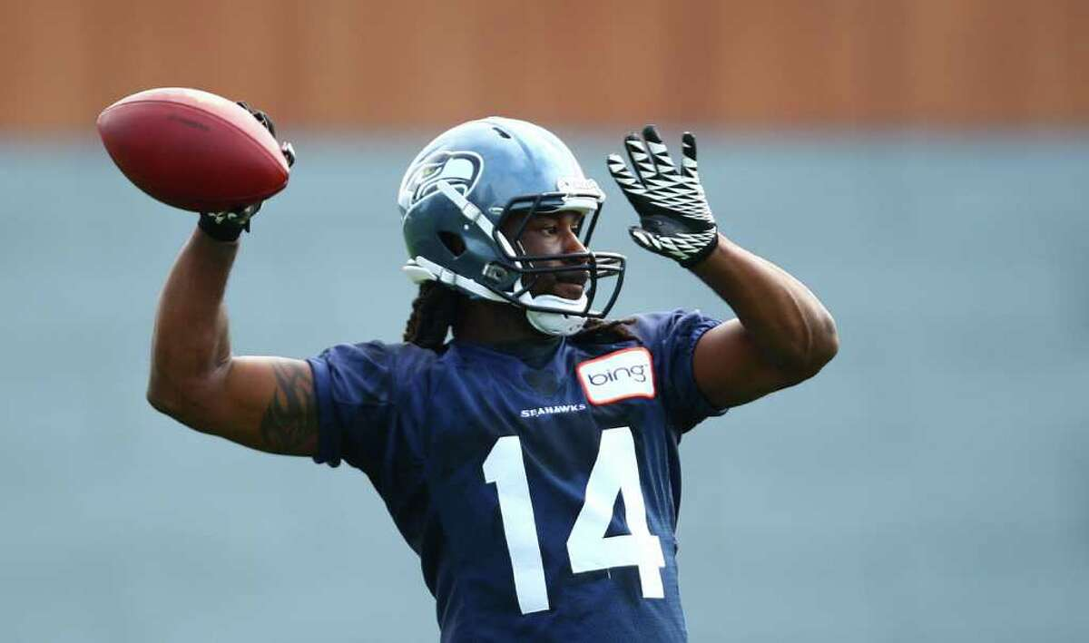 Isaiah Stanback throws the ball during day two of Seattle Seahawks training camp.
