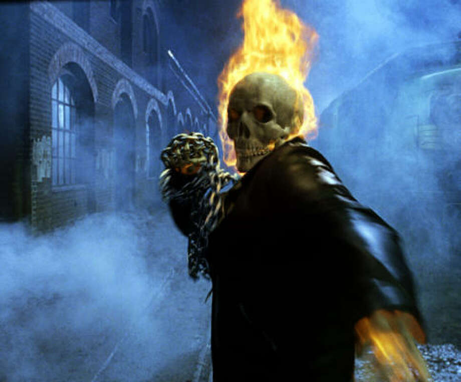 In the presence of evil, Johnny Blaze (Nicolas Cage) turns into the Ghost Rider, a bounty hunter of rogue demons. Photo: Sony Pictures