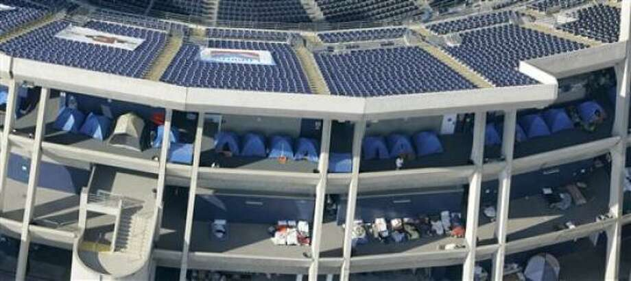 The Chargers' home field, Qualcomm Stadium, has been used to shelter those fleeing the California fires. Photo: Chris Carlson, AP