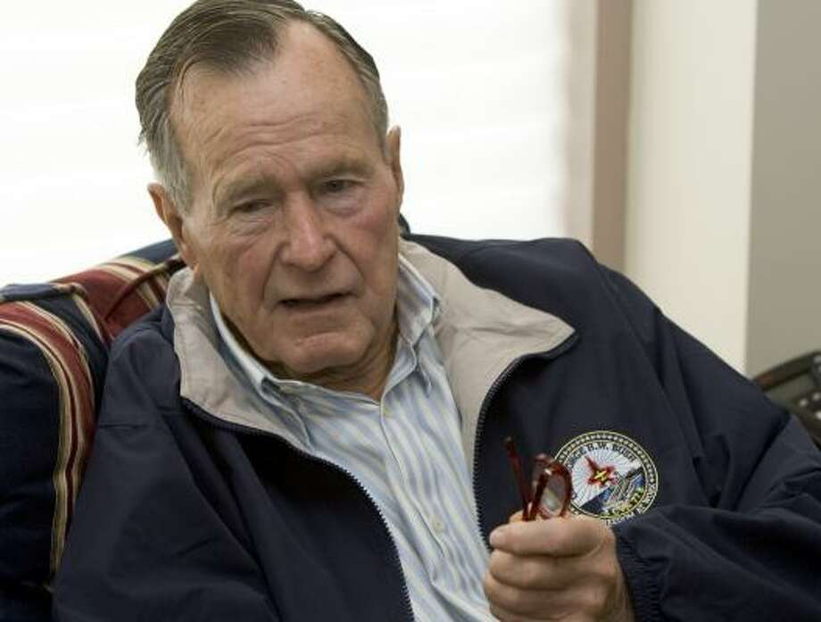 "Former President George H.W. Bush, 83, said he's in no rush to have an authorized biography done on him, as other former leaders have had. ""I'm not saying never,"" he said. ""But for now, I'd rather not fool with it."" Photo: BRETT COOMER, CHRONICLE"