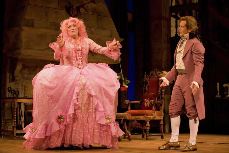 Pictured left to right: Kristine Nielsen, Jeremy Webb in a scene from She Stoops To Conquer at Williamstown Theatre Festival. Photos by T. Charles Erickson.