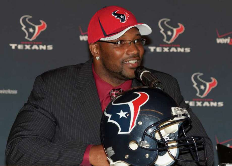 7/29/11: The Texans introduce newly acquired safety Danieal Manning from the Bengals.  Houston also re-signed unrestricted free agents DE Tim Bulman and WR Jacoby Jones.For the Chronicle: Thomas B. Shea Photo: For The Chronicle:  Thomas B. Sh, Thomas B. Shea