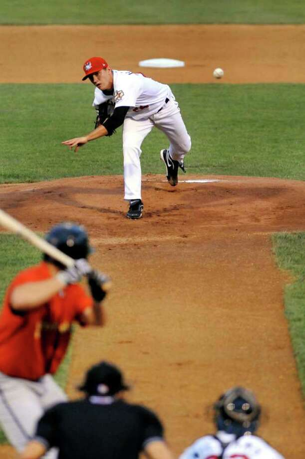 ValleyCats pitcher Kyle Hallock (24) releases a pitch during their baseball game against State College on Friday, July 29, 2011, in Troy, N.Y. (Cindy Schultz / Times Union) Photo: Cindy Schultz
