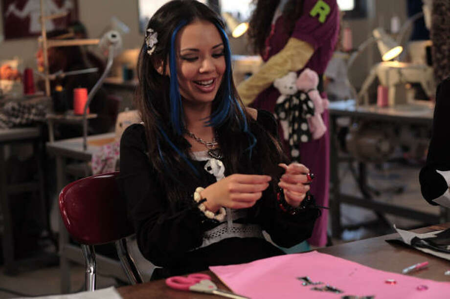 Jade (Janel Parrish) 'Jade-afies' the talent show outfits in Bratz. Photo: Chuck Zlotnick, Lionsgate