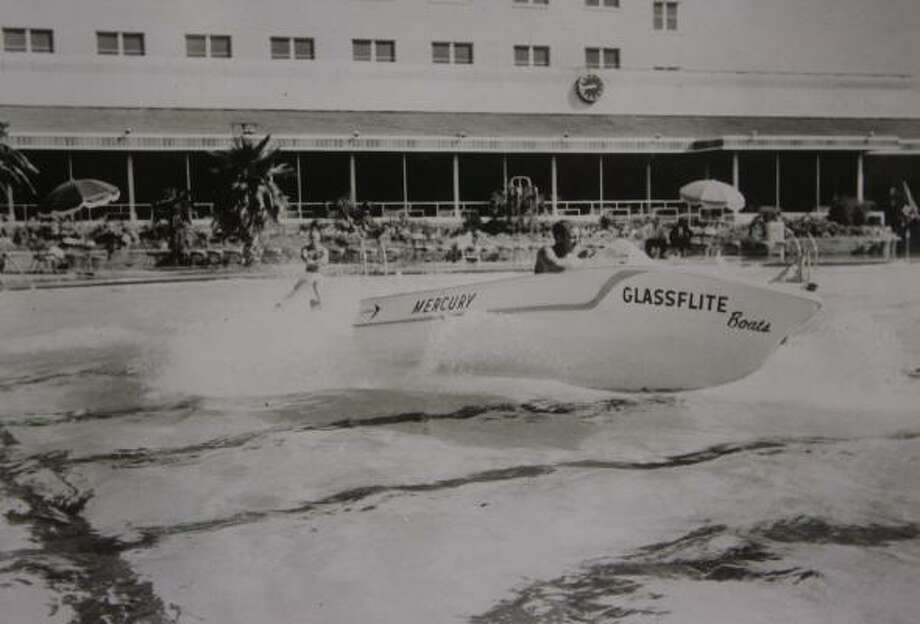 Among the items in the University of Houston's Hilton College of Hotel and Restaurant Management archives is a vintage photograph from the former Shamrock Hotel's pool — big enough for a ski boat with a water-skier to put on a demonstration. Photo: UNIVERSITY OF HOUSTON