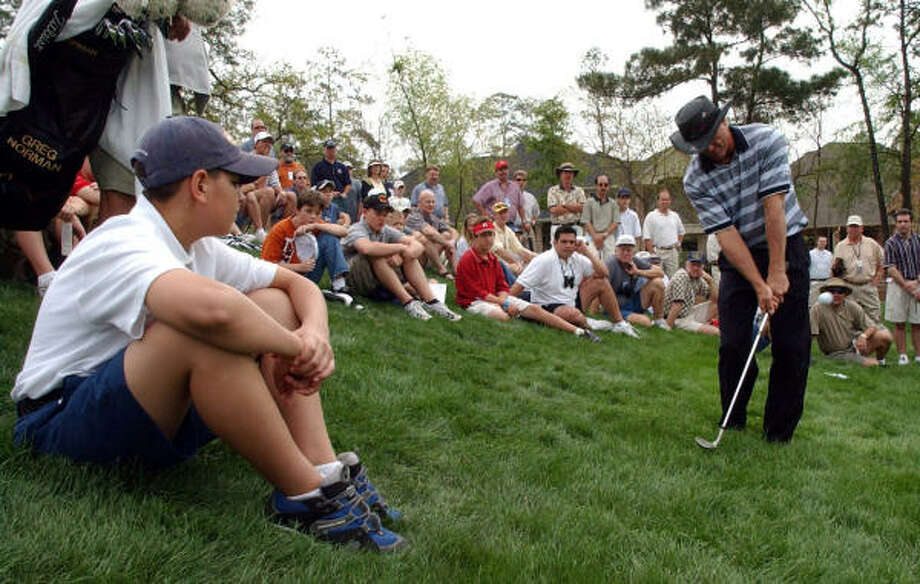 Greg Norman's last Houston stop came in 2002, the same year as his last Masters appearance. Photo: Karl Stolleis, Houston Chronicle