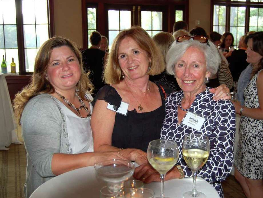 Halstead New Canaan Agents enjoy the company of Halstead New York agents and executives at the Summer Soiree hosted by President Diane M. Ramirez and the co-chairman of Terra Holdings. Pictured, Halstead New Canaan Agents Immy Cognetta, Anka Jones and Sheila Rosenthal. Photo: Contributed Photo