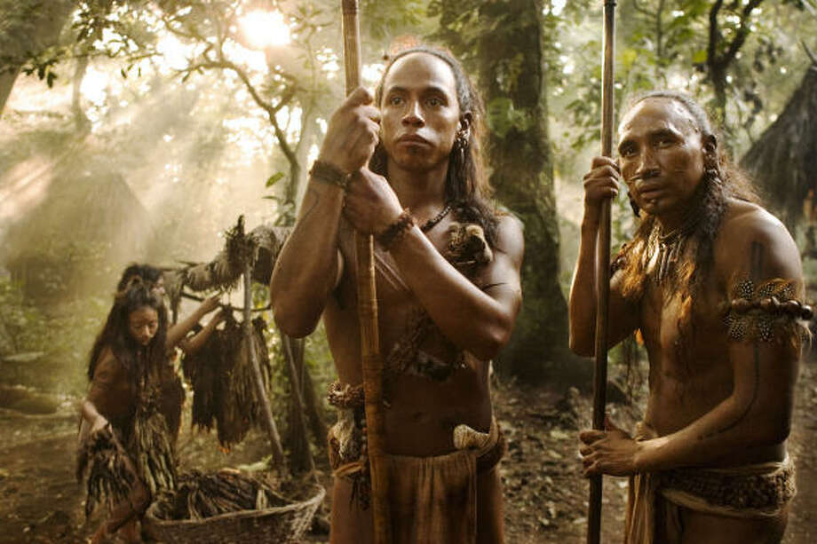Rudy Youngblood, center, and Morris Bird, right, in a scene from Mel Gibson's Apocalypto. Photo: Icon Distribution