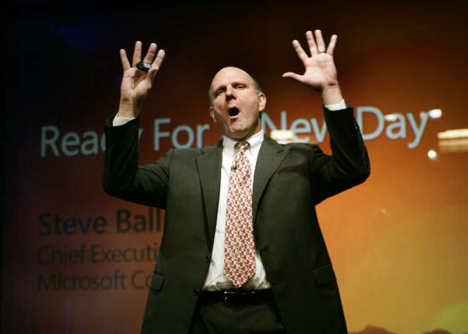 Microsoft CEO Steve Ballmer announces the launch of Windows Vista, the company's first operating system in five years. Corporate users who buy the system in bulk will get first crack at Vista. Photo: TIMOTHY A. CLARY, AFP/Getty Images