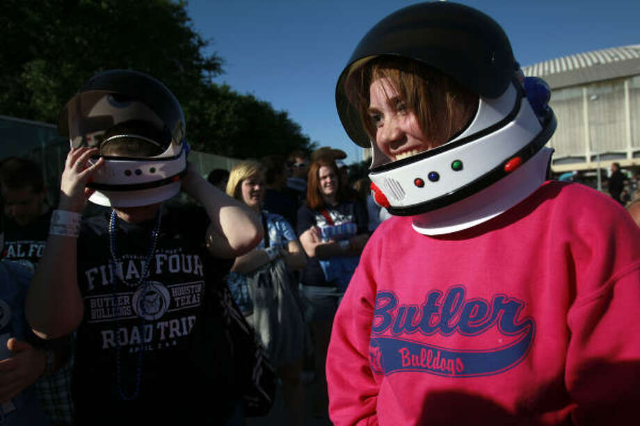 """We went to NASA today,"" Butler University student, Lauren Hattinger, right, said Monday. At left is fellow student, Jennifer Goshert. Photo: Johnny Hanson, Chronicle"