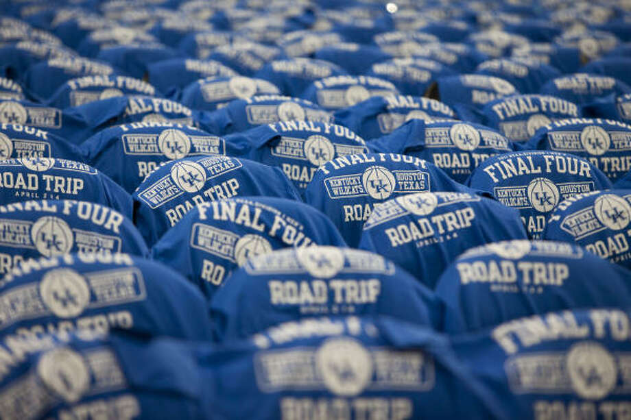 Kentucky T-shirts are set out on seats before the game. Photo: Brett Coomer, Chronicle