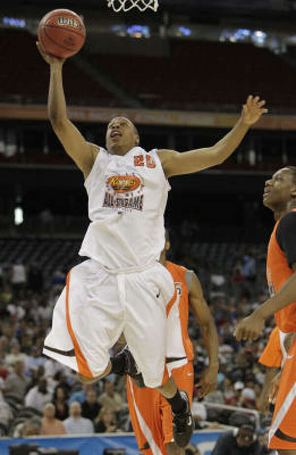 West guard Tristan Thompson of North Texas (20) goes up for a layup during the first half of the Reese's College All-Star Game. Photo: Karen Warren, Houston Chronicle