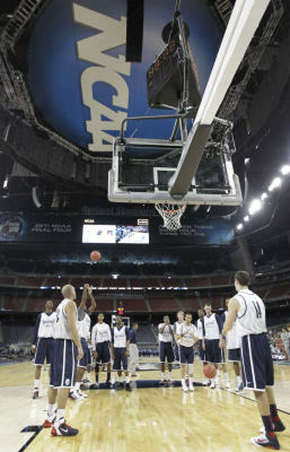 University of Connecticut players during open team practice in preparation for the Final Four at Reliant Stadium. Photo: Karen Warren, Houston Chronicle