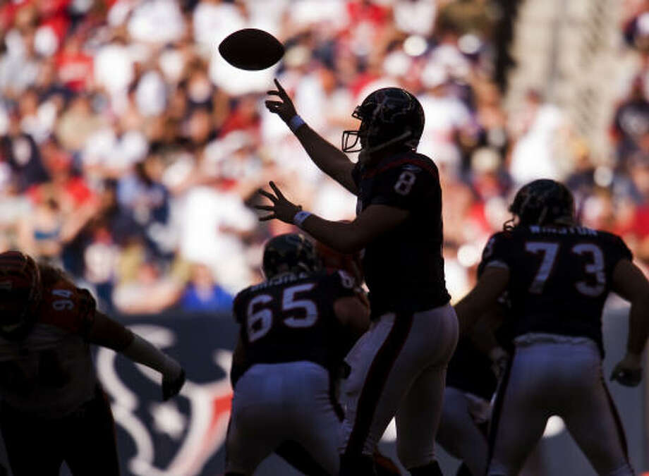 Houston Texans quarterback Matt Schaub passes in the shade in Reliant Stadium. Photo: Smiley N. Pool, Houston Chronicle