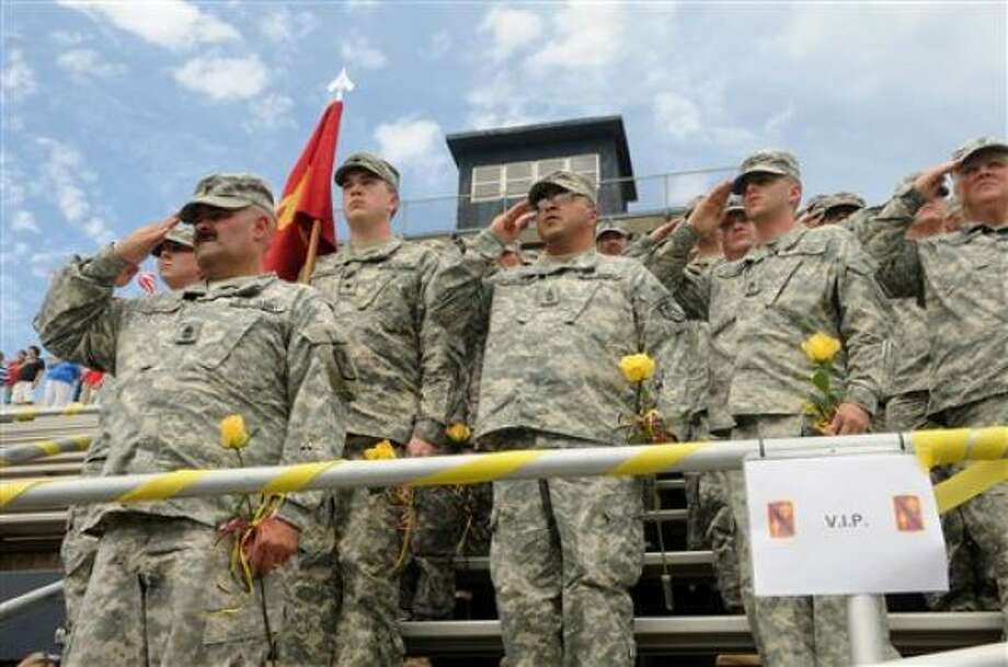 Who: 45th Fires Brigade. Where:  Enid, Okla. When: Aug. 10, 2009. Details:  About 740 soldiers from the brigade are coming home this week. Photo: Candice Budgick, News And Eagle