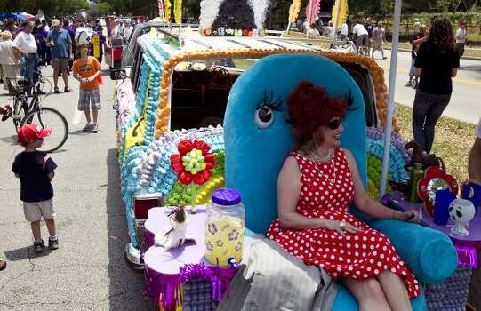 "Anita Lee portrays ""Miss Yvonne"" from Pee Wee's Playhouse aboard the Peep Jeep. Photo: Nick De La Torre, Chronicle"