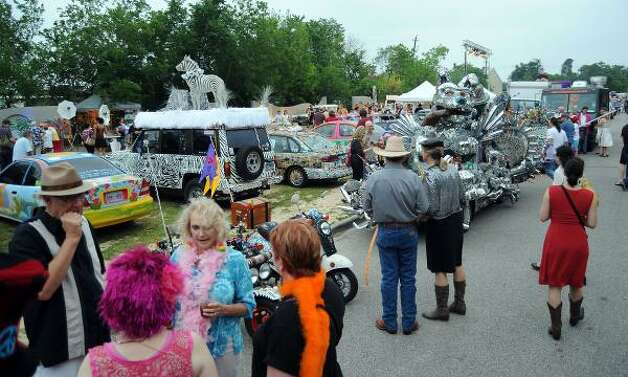 Floats are lined up for inspection during Friday's Art Car Ball. Photo: Dave Rossman, For The Chronicle / HC