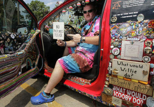 Randy Blair's car is a hodge-podge of everything but the kitchen sink. Photo: Cody Duty, Houston Chronicle