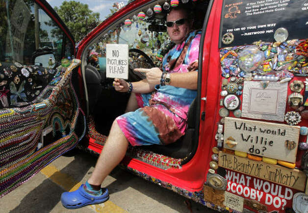 Randy Blair's car is a hodge-podge of everything but the kitchen sink. Photo: Cody Duty, Houston Chronicle / HC