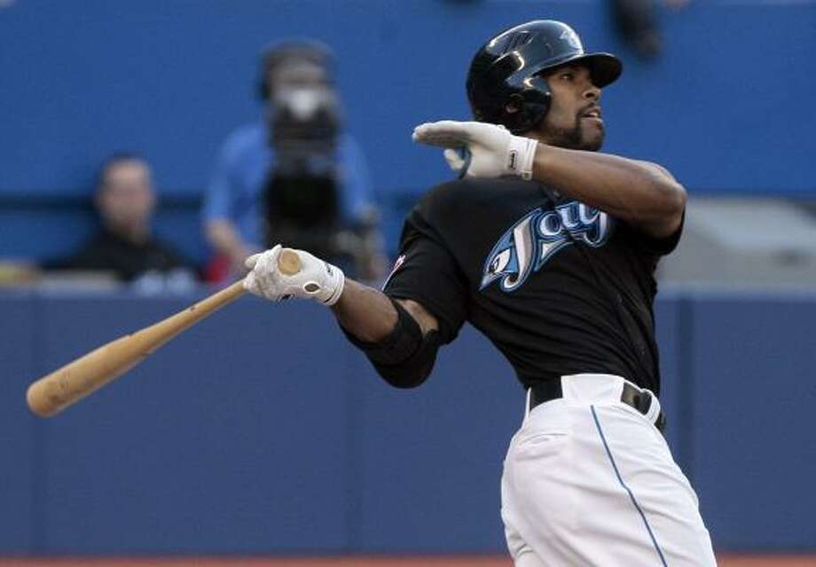 Toronto's Eric Thames drives in a run with a groundout in the second inning. Photo: Abelimages, Getty