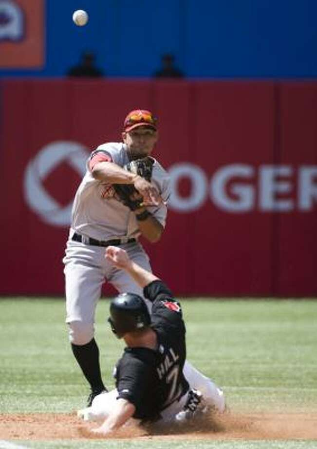 May 21: Blue Jays 7, Astros 5   Angel Sanchez helps complete a double play. Photo: Adrien Veczan, Associated Press