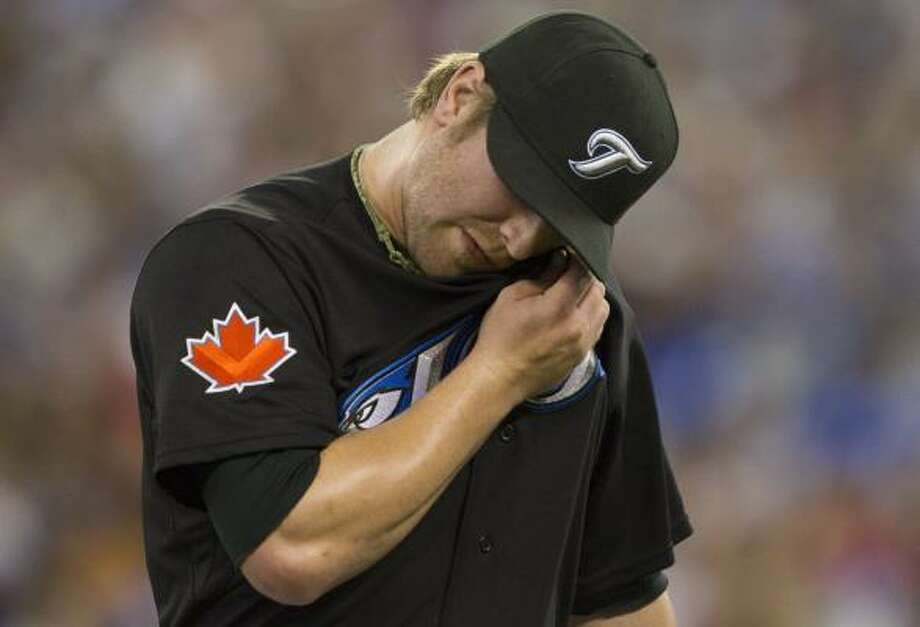 Blue Jays pitcher Kyle Drabek lasted six innings, allowing three runs. Photo: Darren Calabrese, Associated Press
