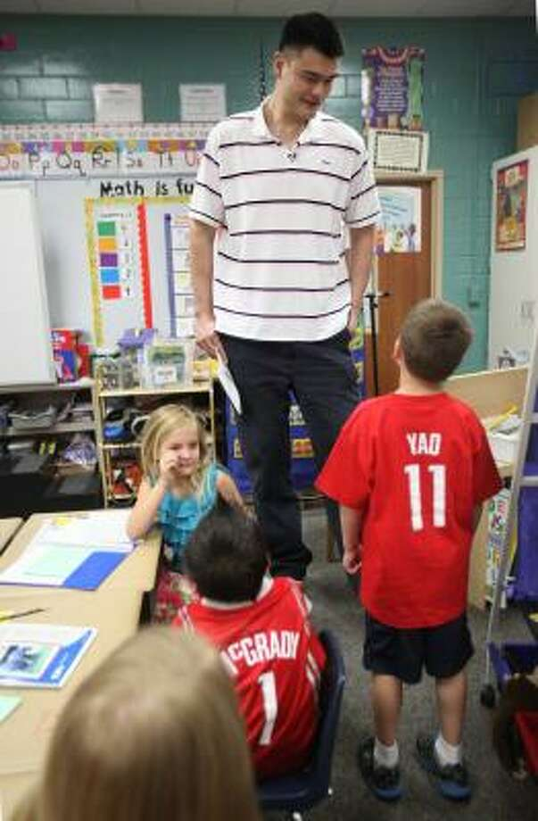 Nicholas Lanzagorta wore his Yao jersey for the occasion. Photo: Mayra Beltran, Chronicle