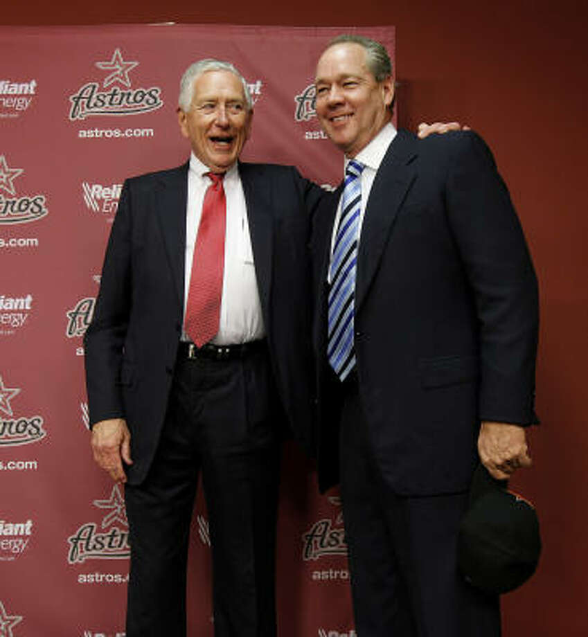 Astros owner Drayton McLane and Jim Crane take a photo together after McLane announced the purchase agreement with a group headed by Houstonian Jim Crane,Monday, May 16, 2011, in Houston.The sale of the ball club will be finalized once it is approved by Major League Baseball. Photo: Karen Warren, Houston Chronicle