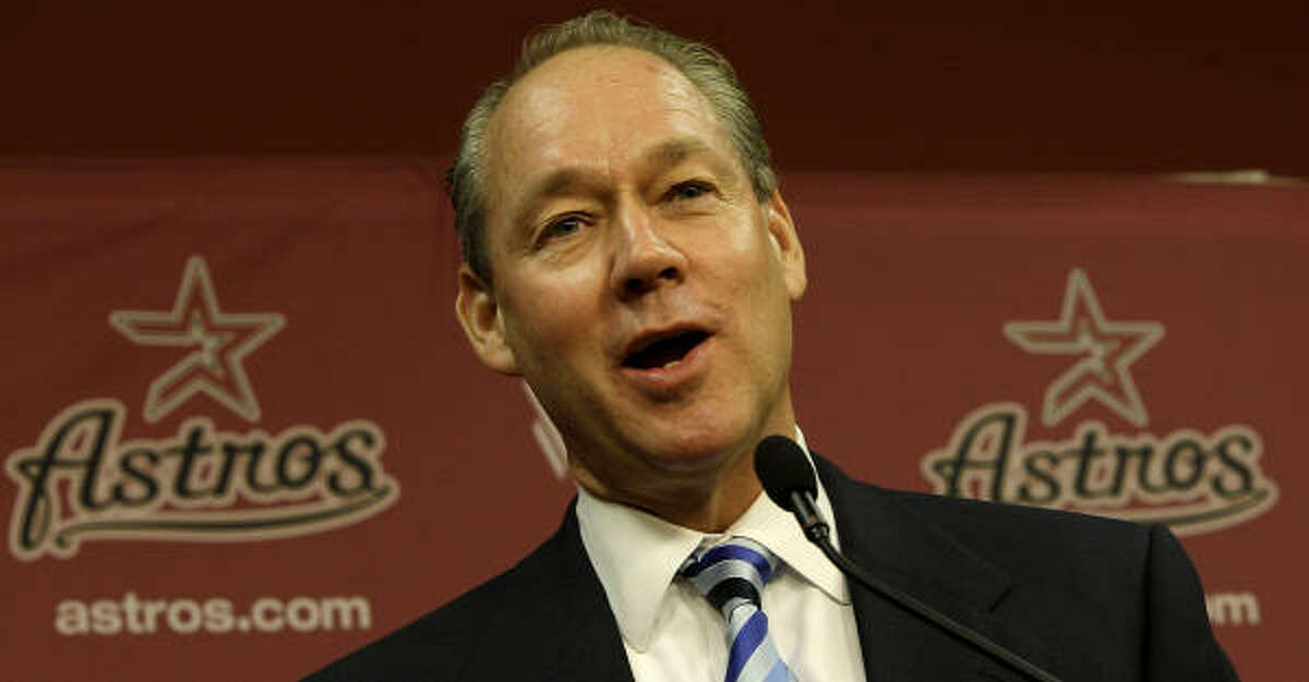 Jim Crane answers a question from a reporter as Astros owner Drayton McLane announces the purchase agreement with a group headed by Houstonian Jim Crane, Monday, May 16, 2011, in Houston. The sale of the ball club will be finalized once it is approved by Major League Baseball.