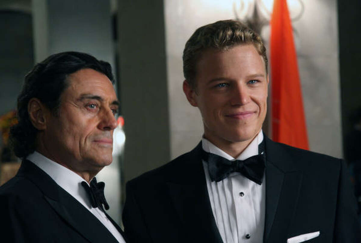 Ian McShane, left, as King Silas and Christopher Egan as David Shepherd star in NBC drama series, Kings, which airing Sunday on NBC.
