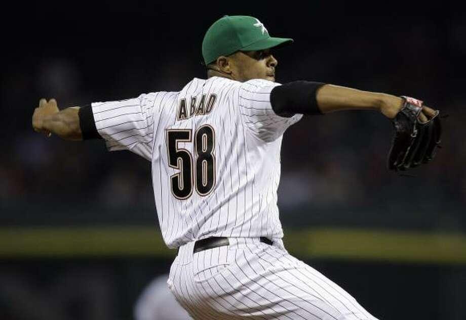 Fernando Abad:1-3, 7.50 ERA, 12.0 IP, 17 H, 10 ER, 6 BB, 8 SO   Awful Astros team stat: ERA: 4.97, highest in MLB Photo: Bob Levey, Getty