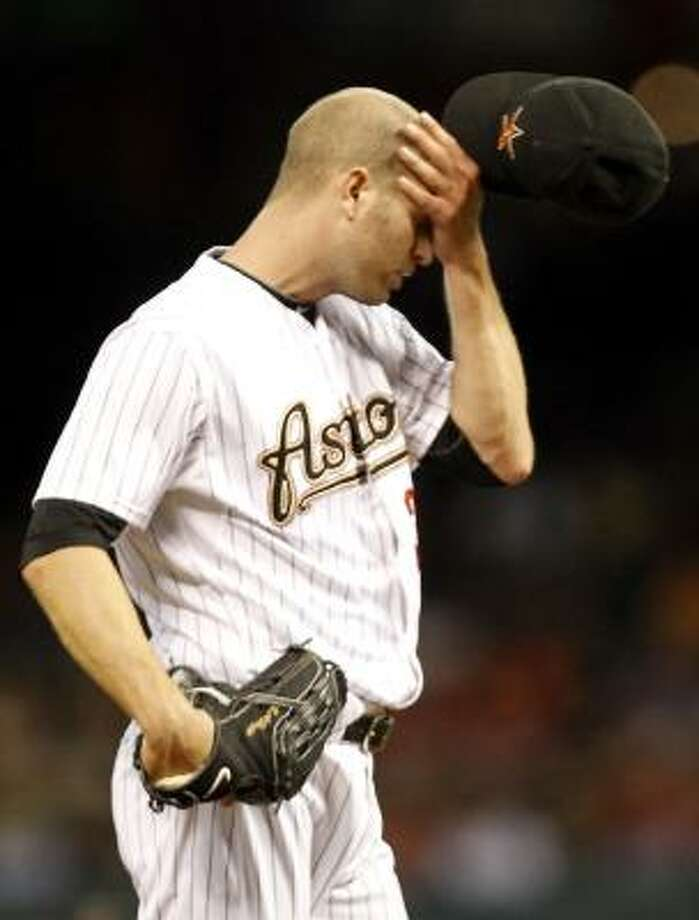 J.A. Happ:2-4, 5.75 ERA, 40.2 IP, 43 H, 26 ER, 19 BB, 28 SO   Awful Astros team stat: Runs allowed: 181, most in MLB Photo: Cody Duty, Chronicle