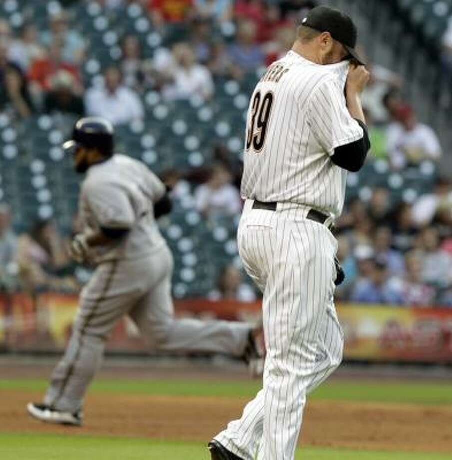 Brett Myers: 1-2, 4.47 ERA, 44.1 IP, 49 H, 22 ER, 15 BB, 30 SO   Awful Astros team stat: OPS (on-base percentage, plus slugging percentage): .798, highest in MLB Photo: Pat Sullivan, Associated Press