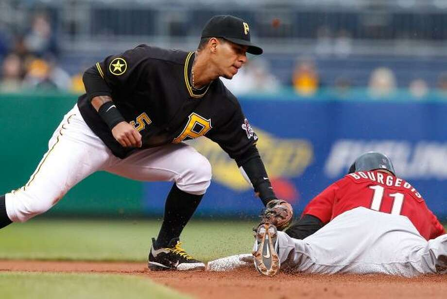 Pirates shortstop Ronny Cedeno, left, attempts to tag out Jason Bourgeois. Photo: Jared Wickerham, Getty