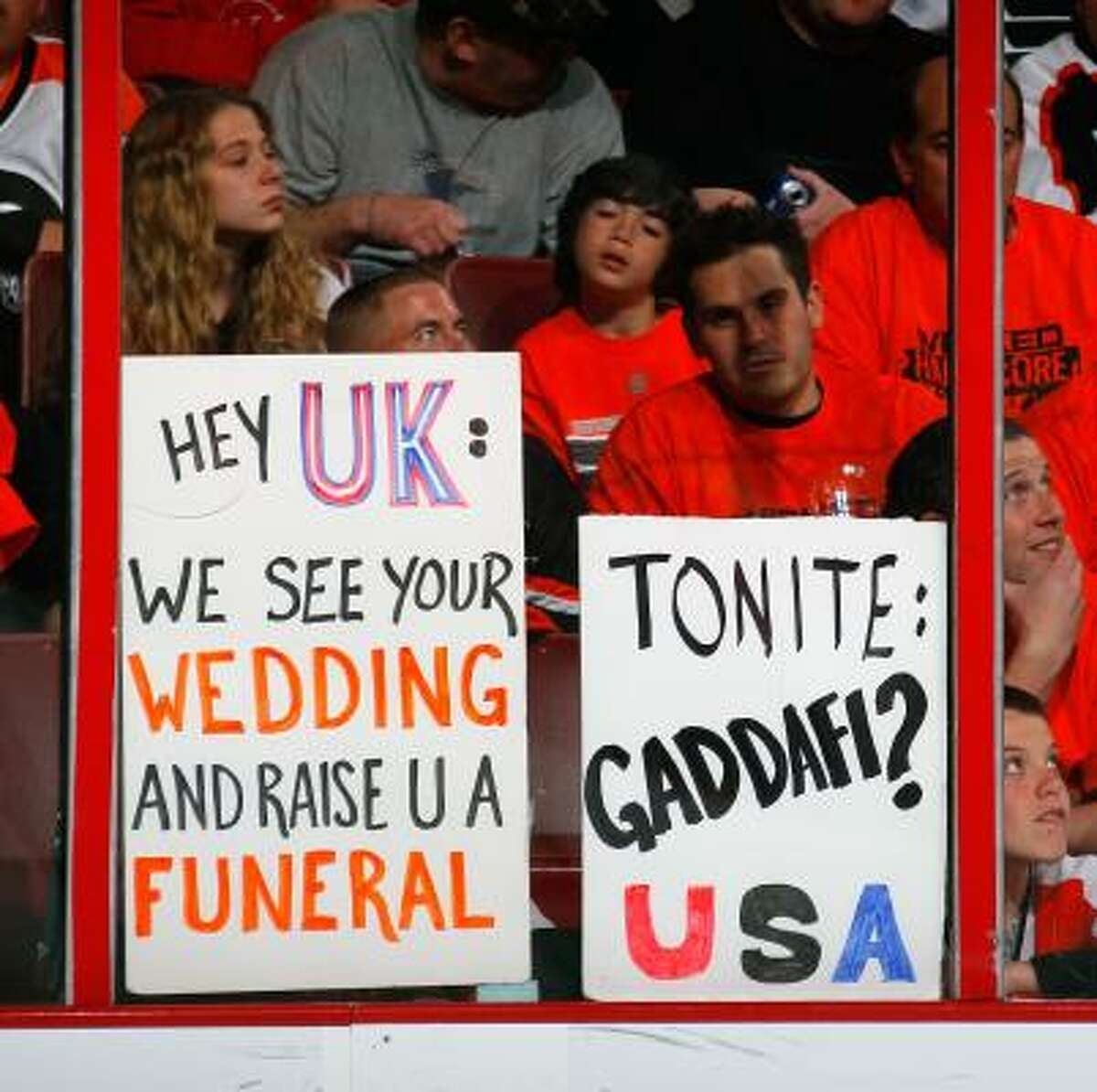 Philadelphia fans shows off witty signs at the Flyers' game.