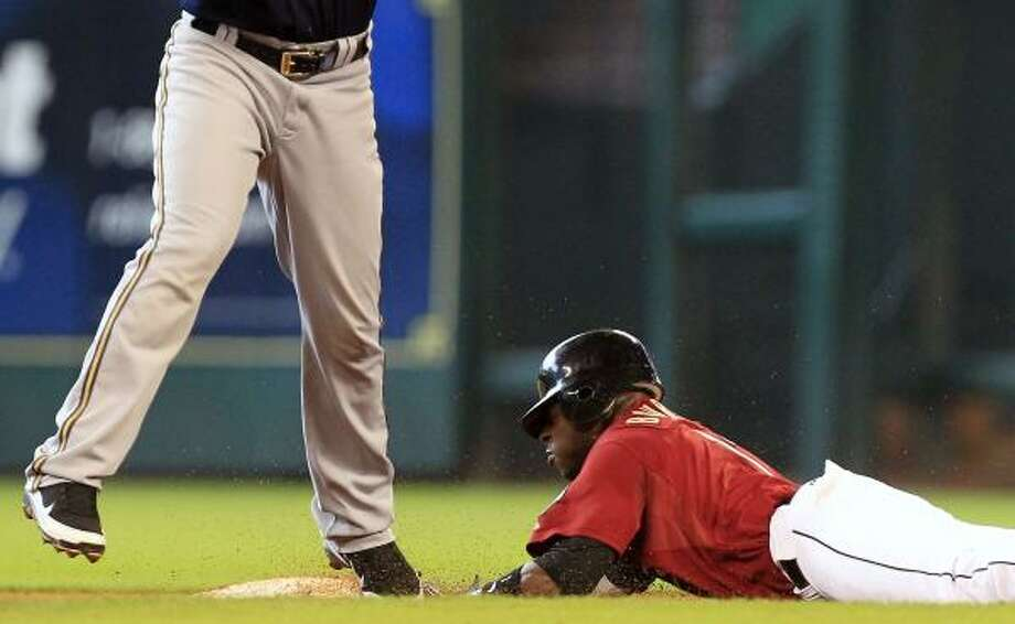 Astros center fielder Jason Bourgeois slides into second on a steal in the sixth inning. Photo: Cody Duty, Chronicle