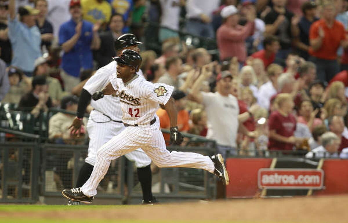 April 15: Padres 4, Astros 2 Astros' Michael Bourn runs past 3rd base to score the Astros' first run against the San Diego Padres.