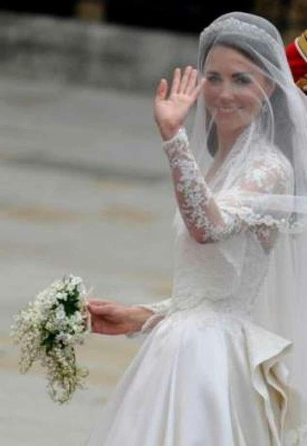 Kate Middleton arrives at the West Door of Westminster Abbey in London for her wedding.