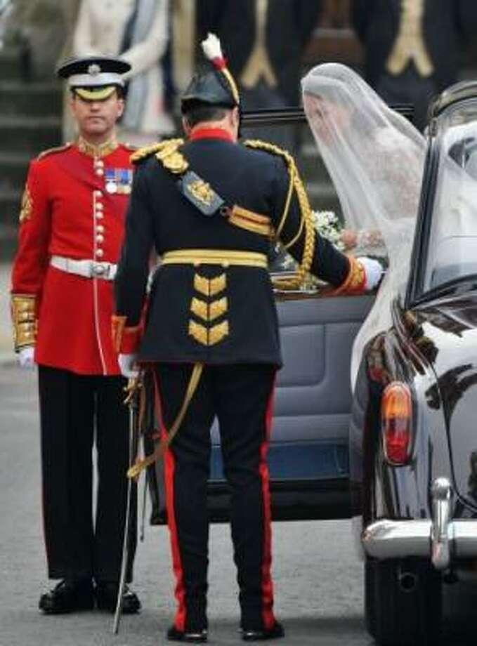 Catherine Middleton arrives.