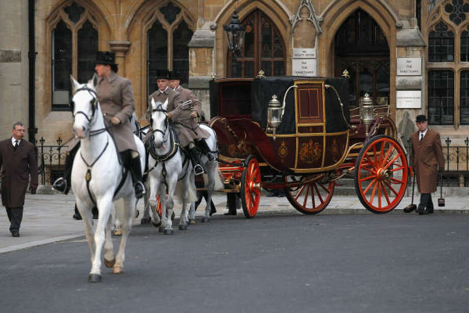 A Royal Carriage leaves Westminster Abbey during a military dress rehearsal for the wedding. Photo: Christopher Furlong, Getty Images